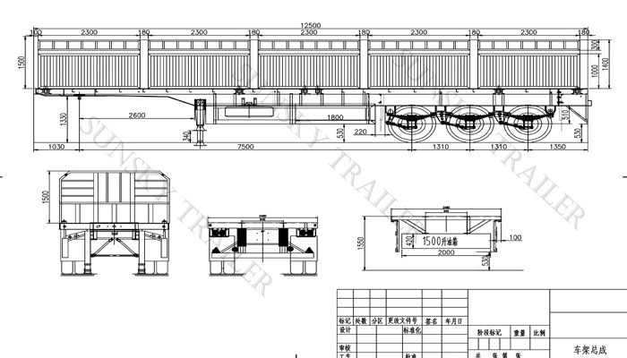 Drawing of flatbed trailer wtih sidewall
