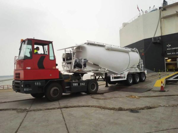 bulk cement trailer load by roro ship